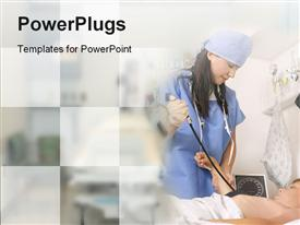 PowerPoint template displaying doctor with a sphygmomanometer taking a patients blood pressure
