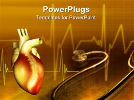 Heart and stethoscope powerpoint design layout