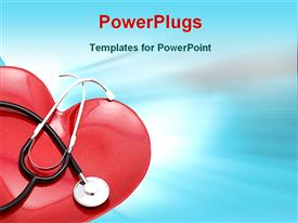 PowerPoint template displaying red heart with stethoscope, cardiovascular disease, medicine, cardiology, health care
