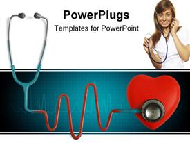 PowerPoint template displaying heart and a stethoscope with heartbeat (pulse) symbol isolated in white background