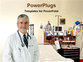 PowerPoint template displaying elderly doctor stethoscope standing operating room