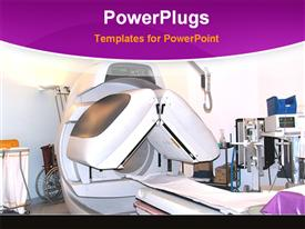 PowerPoint template displaying mRI machine lab equipment, hospital, medical testing