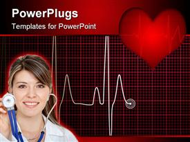 Illustrated medical background with a ECG overlaid with a 3D red heart on top powerpoint theme