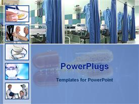 PowerPoint template displaying medical theme five small depictions doctors, pills, stethoscopes, x-ray, hospital wards opened capsule fading background
