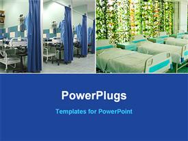 PowerPoint template displaying two layouts hospital beds blue background bottom