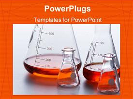 PowerPoint template displaying lab beakers