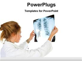 PowerPoint template displaying a lady doctor looking on an X-ray report