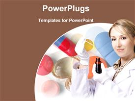 PowerPoint template displaying a lady doctor with a number of capsules in the background