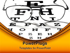 PowerPoint template displaying macro of glasses on vision test chart in the background.