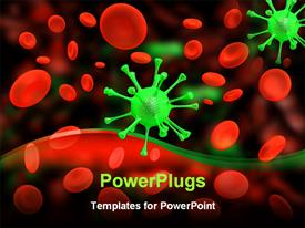 PowerPoint template displaying depiction of many red cells and one green virus in the background.