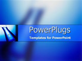 PowerPoint template displaying measuring beaker in blue in the background.