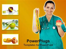 PowerPoint template displaying a doctor showing off an apple and a measuring tape