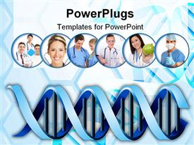 PowerPoint template displaying medical abstract background with DNA and cells in the background.