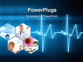 PowerPoint template displaying medical background with a heart beat / pulse with a heart rate monitor symbol in the background.