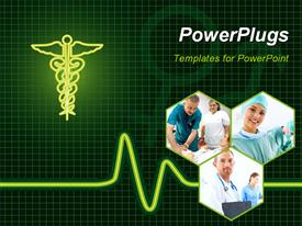 Medical collage of ECG machine with universal medical symbol powerpoint theme