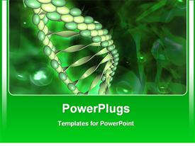 PowerPoint template displaying green DNA double helix, medical, genetics, research, medicine