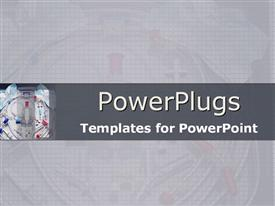 PowerPoint template displaying medical equipment on grid and in grey