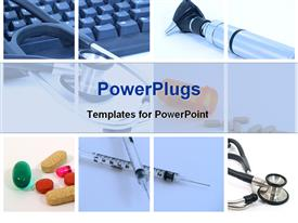 PowerPoint template displaying medical tools used hospital health vitality white background