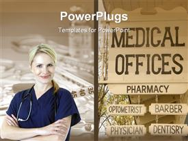 PowerPoint template displaying blond smiling nurse with stethoscope and medical offices pharmacy optometrist barber physician dentistry