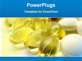 PowerPoint template displaying a number of glass tablets with yellowish background