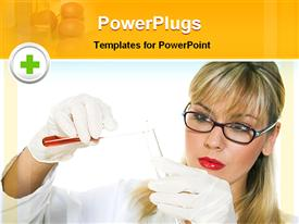 PowerPoint template displaying medical practitioner testing in a lab in the background.
