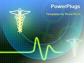 PowerPoint template displaying medical related symbols with heartbeat line and gender symbols on the green and blue with black background