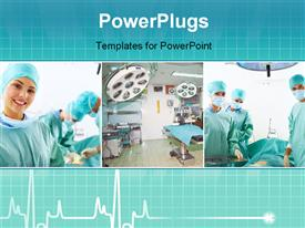 PowerPoint template displaying medical team performing operation hospital