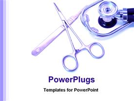PowerPoint template displaying medical tools