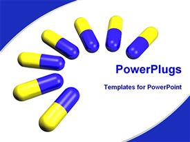 PowerPoint template displaying mountain of medical tablets in the background.