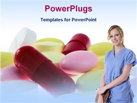 PowerPoint template displaying a nurse standing in front of a number of medicines