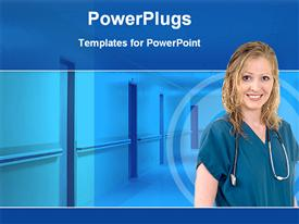 PowerPoint template displaying nurse stethoscope hospital background