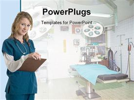 PowerPoint template displaying nurse hospital taking notes beside patient bed