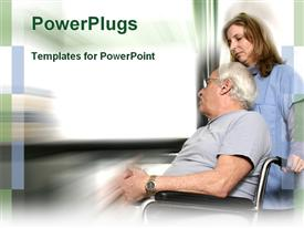 PowerPoint template displaying elderly man on wheelchair with female nurse pushing in white background