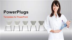 PowerPoint template displaying pretty female doctor in white robe with lots of chairs