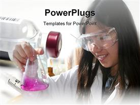 PowerPoint template displaying a scientist trying to test a new liquid