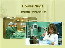 PowerPoint template displaying operation theater and intensive care unit