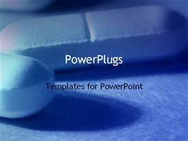 PowerPoint template displaying close up of two tablet pills, medicine, health, pharmaceuticals