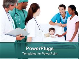 PowerPoint template displaying kid lying down hospital bed nurses surrounding
