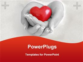 PowerPoint template displaying mother wife woman holding heart hands health family hospital care
