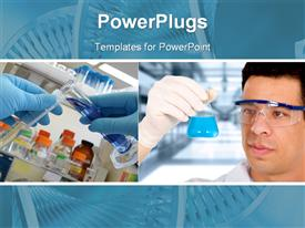 PowerPoint template displaying scientist, man mixing different test tube materials in a lab