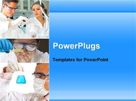 PowerPoint template displaying scientists are experimenting in a medical lab