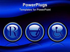 PowerPoint template displaying set of three blue medical web buttons