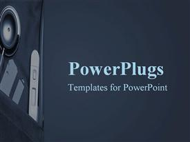 PowerPoint template displaying side pocket containing medical instruments on blue