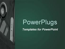 PowerPoint template displaying depiction of a deep green background board with speaker