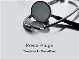 PowerPoint template displaying stethoscope with shadow reflecting in background