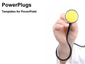 PowerPoint template displaying stethoscope in doctor's hand, medicine, heart health, physical