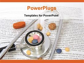 PowerPoint template displaying stethoscope, drugs on a medical book