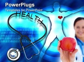 PowerPoint template displaying stethoscope with health text in the background.