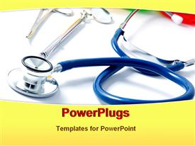 PowerPoint template displaying stethoscope with other medical tools