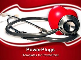 PowerPoint template displaying stethoscope and a red heart against a white background